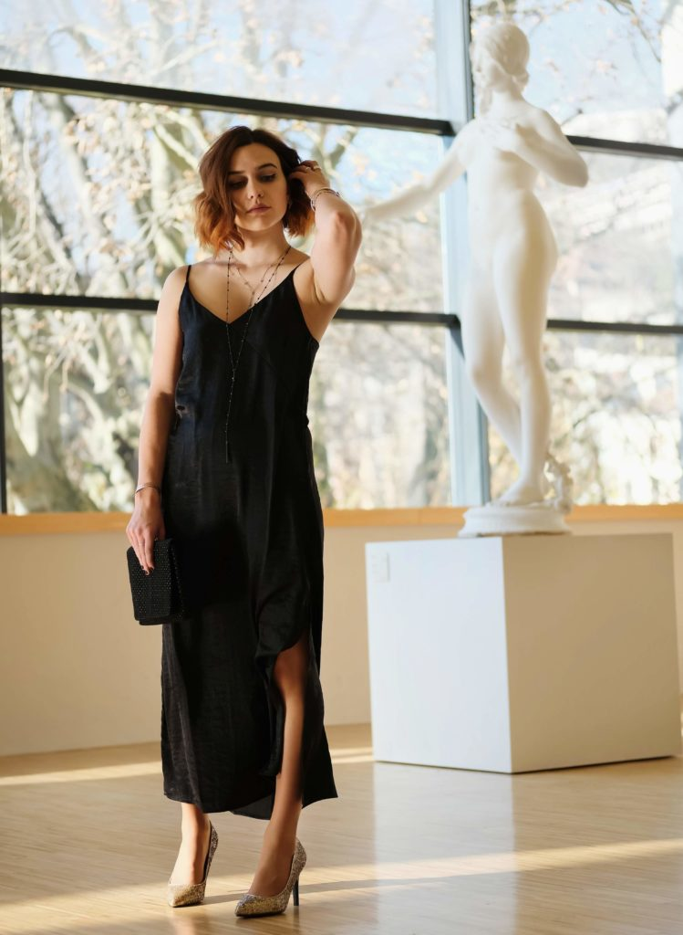silky black dress